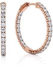 Beverly Hills Jewelers 1.00 Carat T.w. Beautiful Inside-Out Hoop Earring Top Shine, Real Natural G-H color White Diamond, 14k Rose Gold, with Super Secure lock.US Patent # 7,878,024B2 lock