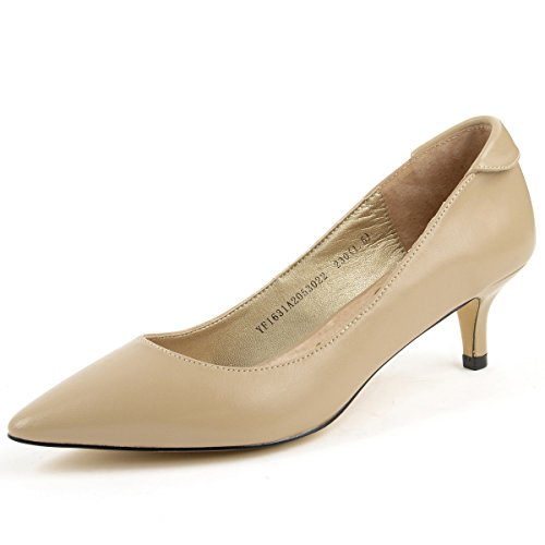 Yonge&Finch Women's Dress Leather Pumps (7US, Nude) Beige Leather Heels