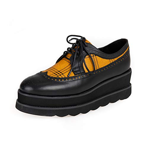 Leather Lambskin Platforms (Winsden Perforated Lace-up Leather Wedge Platform Oxfords Vintage Fashion Wingtip Classic Brogues Women Girls (35, Yellow))