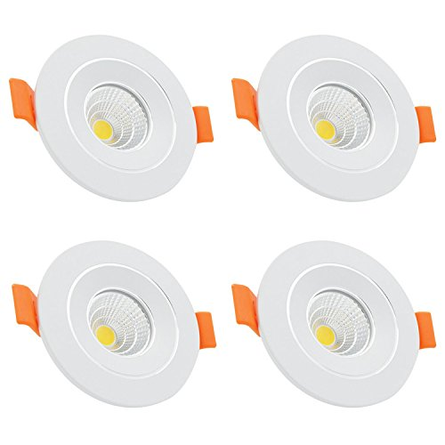 4-Pack LED Recessed Ceiling Downlight Spot Light 3W, COB Bulb, Anti-Dazzle, Cut Out 38-70mm, Warm White