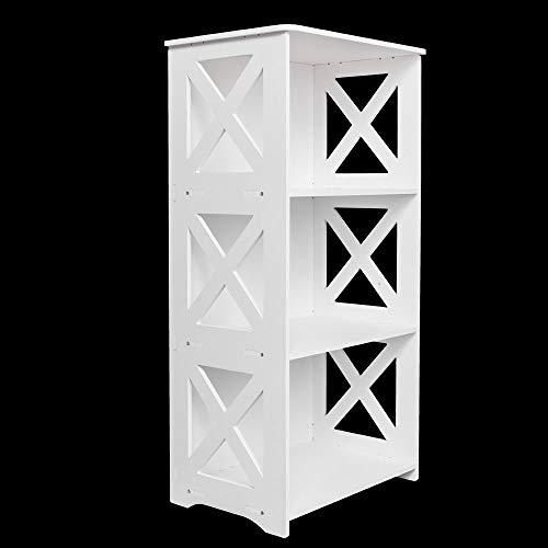 Adumly 3 Tier Shelf Rack Storage Organizer Bookcase Display WPC Wood Bookshelf