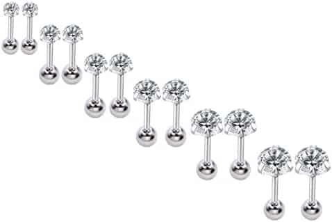355d02ddd2e2e 16g 2//3//4mm Cubic Zirconia Stainless Steel Triple Forward Helix ...