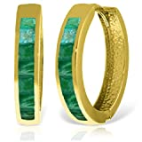 14k Yellow Gold Hoop Huggie Earring with Emeralds