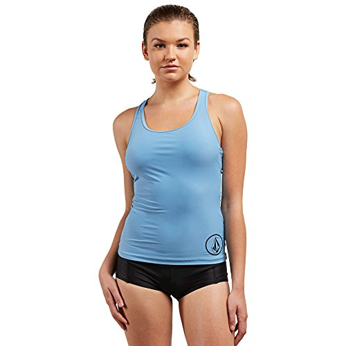 Volcom Women's Simply Solid Racerback Sporty Swimsuit Tankini Top, Sandy Indigo, Small by Volcom