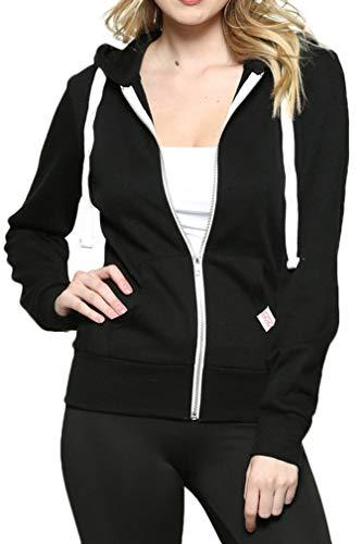 Urban Look Womens Active Long Sleeve Fleece Zip Up Hoodie (Medium, B1 Solid_Black)