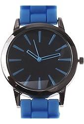 Geneva Light Blue w/ Black Silicone Jelly Watch