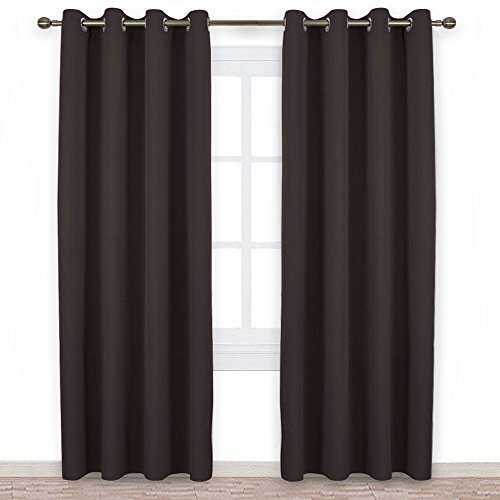 NICETOWN Blackout Curtains Panels for Window - Home Fashion Machine Washable Ring Top Thermal Insulated Solid Blackout Draperies for Kid's Room (2 Panels, 52