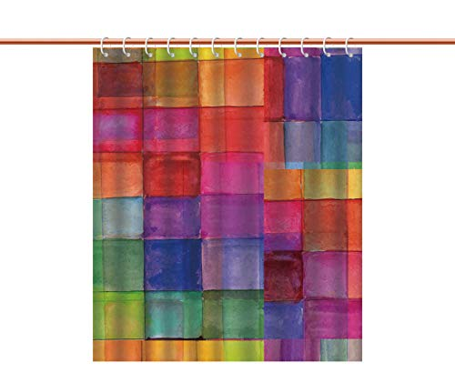iPrint Waterproof Shower Curtain [ Abstract,Rainbow Colored Geometric Square Shaped with Blurry Hazy Effects Watercolor Design,Multicolor ] Heavy-Duty Fabric Shower - Square Mountain Shower