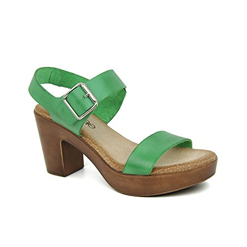 Sandalia Tacon En Piel Verde Verde