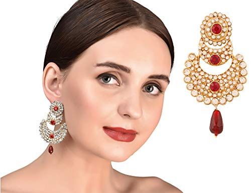 Touchstone Indian Bollywood Crystals and red Chand Bali Designer Jewelry Earrings in Gold Tone for Women