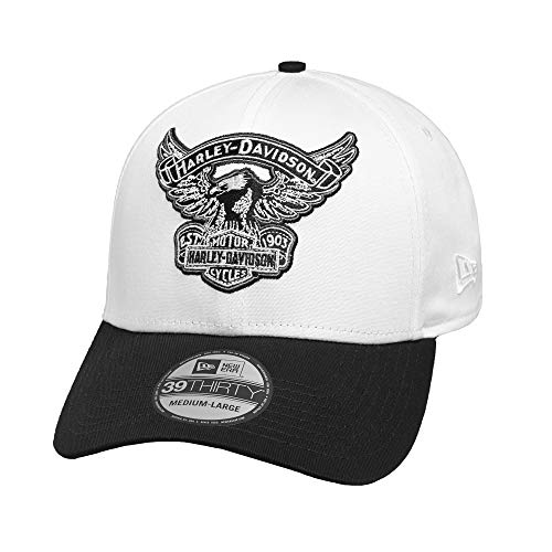 Harley-Davidson Official Men's Embroidered Eagle 39THIRTY Cap, White (Large) ()