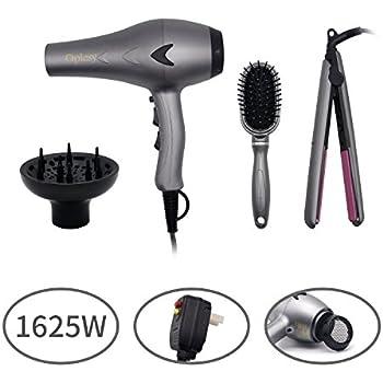 1625W Lightweight DC Motor Low Noise Hair Dryer Set, 2 Speeds and 3 Temperatures Settings, Straightener & Comb Set,Tourmaline Ceramic Flat Iron Hair ...