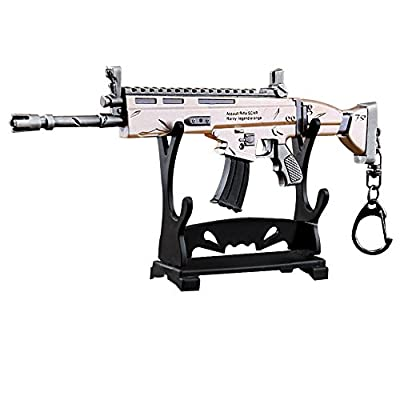 LLAMEVOL Gun keychain for Men Fort-Nite SCAR Guns Toys Heavy Shotgun Model Alloy Metal Assault Rifle Keychain Game Party Supplies Collection Gift for Boys