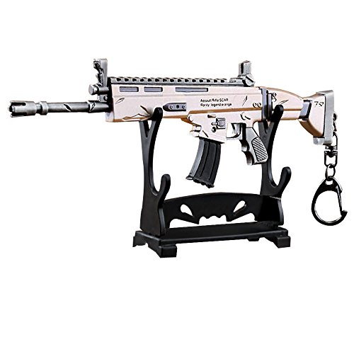 LLAMEVOL Gun keychain for Men Fort-Nite SCAR Guns Toys Heavy Shotgun Model Alloy Metal Assault Rifle Keychain Game Party Supplies Collection Gift for Boys by LLAMEVOL