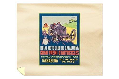 Reial Moto Club de Catalunya - Tarragona Vintage Poster (artist: Garcia) Spain c. 1923 (88x104 King Microfiber Duvet Cover) by Lantern Press