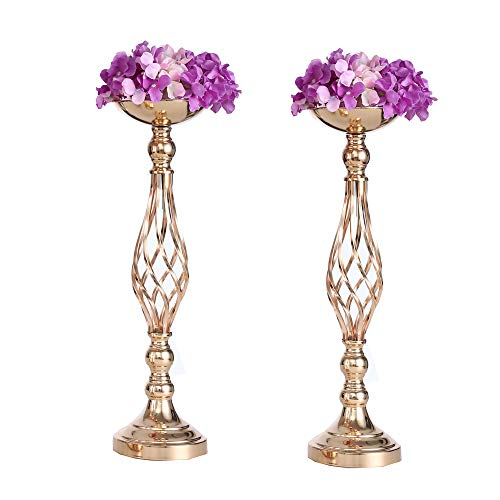 LANLONG 2pcs Metal Gold Candle Holders Road Lead Table Centerpiece Stand Pillar Candlestick for Wedding Candelabra Flowers Vases (Gold, - Garland Holder Metal Candle