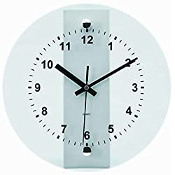 Tempus® TC6065S Wall Clock with Glass Metal Frame and Quartz Movement, 10-1/2, Silver