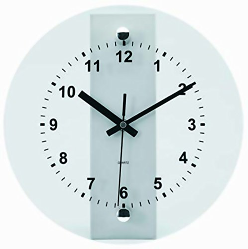 (Tempus® TC6065S Wall Clock with Glass Metal Frame and Quartz Movement, 10-1/2
