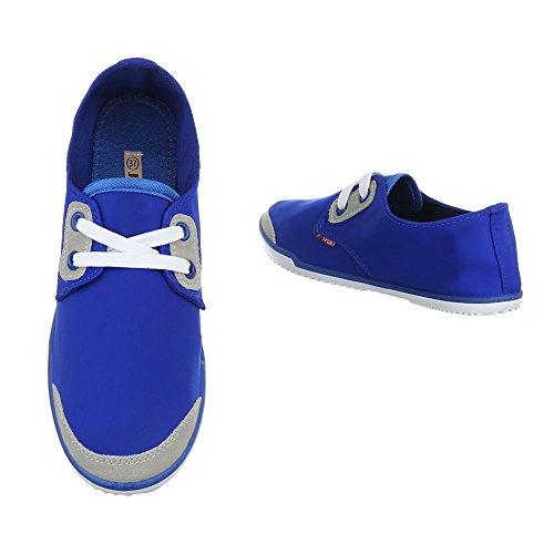 Damen Schuhe Freizeitschuhe Schnürer Low-top Sneaker Neongelb Blau