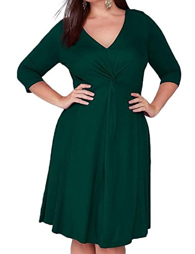 Comfy Solid Plus Green Neck V Size Dress Exotic Luxury Colored Women's Party nrqxP4I6r