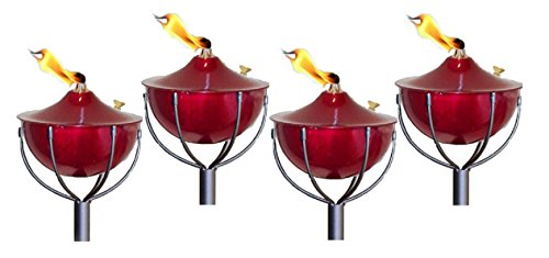 Legends Maui Outdoor Garden Torches with Poles, Set-of-4, (Cranberry)