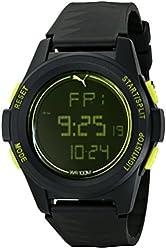 PUMA Men's PU911161001 Vertical Black Digital Display Quartz Black Watch
