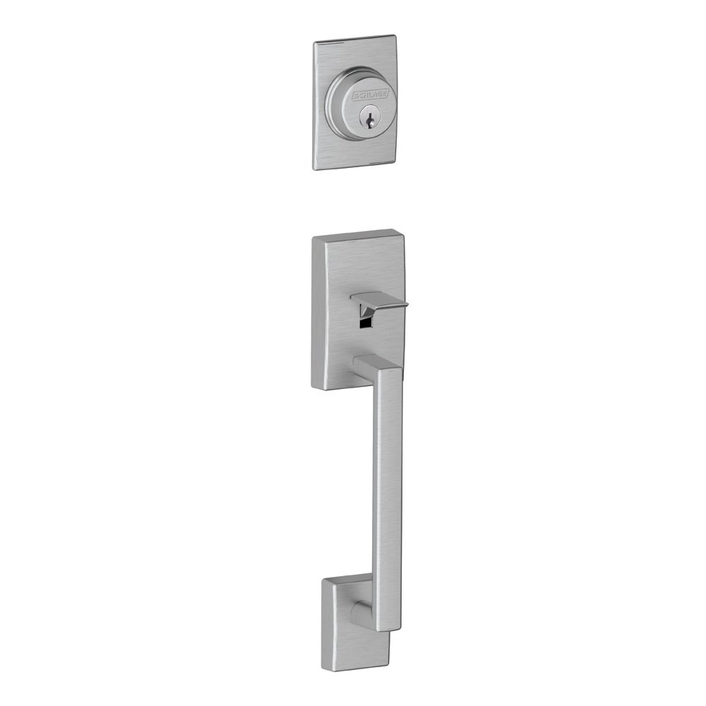 Schlage F58 CEN 626 Century Exterior Handleset With Deadbolt, Brushed  Chrome (Exterior Half Only)   Door Handles   Amazon.com