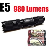 PowerTac E5 Gen4 980 Lumens CREE XM-L2 LED Flashlight Firefly and Strobe with two LegionArms CR123 Batteries