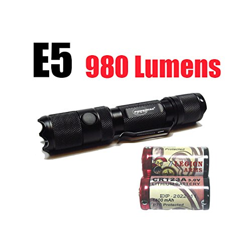 Cheap PowerTac E5 Gen4 980 Lumens CREE XM-L2 LED Flashlight Firefly and Strobe with two LegionArms CR123 Batteries
