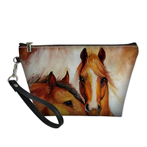 Sannovo Lover Horse Print Animal Cosmetic Pouch Professional Makeup Travel Case