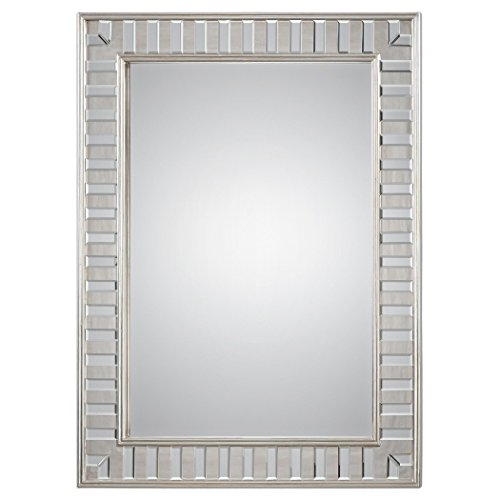 - Dazzling Tiled Silver Wall Mirror | Vanity Framed Solid Wood Elegant