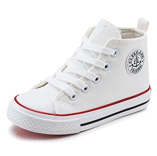 - Sabe Unsix Kids Boys Girls Canvas High Top Gym Shoes Trainers Sneakers(Toddler/Little Kid/Big Kid) (2.5 M US Little Kid, White)