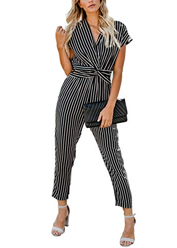 (Pofash Women's Casual Striped Short Sleeves Ruched Pleated Jumpsuit Romper Black Large)