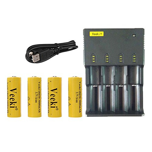 18650 Battery and 4-slot Universal LCD Battery Charger, Veeki 4PCS 18650 3.7V 3000mah High-capacity Li-ion Protected Rechargeable Batteries Power for Flashlight, Headlamps etc (4 Batteries+charger)