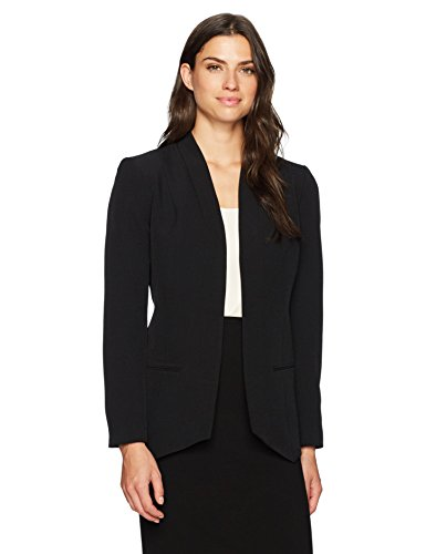 Kasper Women's Solid Flyaway Shawl Jacket, Black, 14