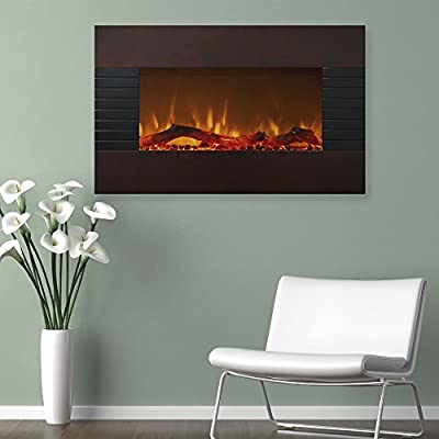 """Home Northwest 36"""" Mahogany Fireplace with with Wall Mount & Floor Stand, Chesnut"""