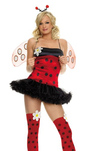 Leg Avenue Women's 4 Piece Daisy Bug Costume Includes Head Piece Dot Stocking Daisy AppMultiX-Small -