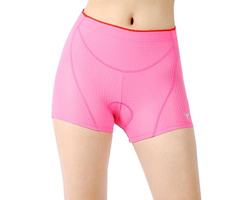 Panda Superstore Women's 3D Padded Coolmax Bicycle Cycling Underwear Shorts, L, Red by Panda Superstore