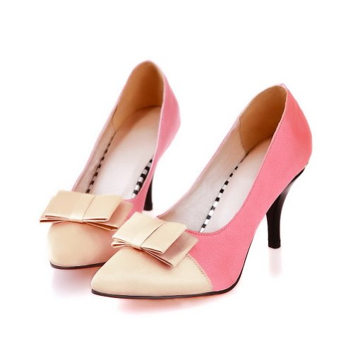 VogueZone009 Womens Closed Pointed Toe High Heel Frosted PU Pumps whith Assorted Colors and Bowknot Pink Pg8lDAFh
