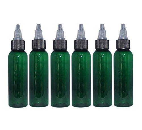 (Pack of 6) - 2 oz Green Cosmo Bullet. Refillable, Empty PET Plastic Bottles w/Black Yorker Twist-Open Top Squeeze Top - Mfg. USA