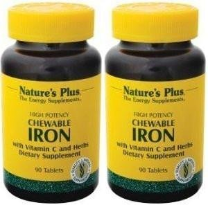 Nature's Plus - Chewable Iron w/ Vit C, 90 Chewable Tablets (2 Bottle Pack) Two 90 Tablets