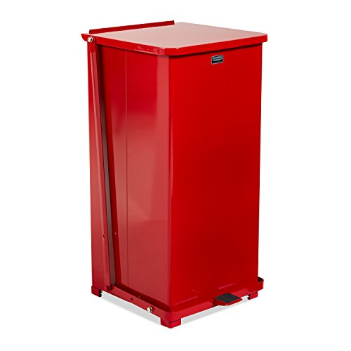 (Rubbermaid Commercial FGQST24EPLRD The Silent Defenders Steel Step Trash Can, Square with Plastic Liner, 24-gallon, Red)