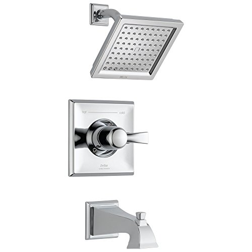 Delta Faucet Dryden 14 Series Single-Function Tub and Shower Trim Kit with Single-Spray Touch-Clean Shower Head, Chrome T14451 (Valve Not Included)