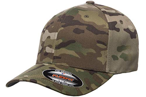 Flexfit Multicam Camo 6 Panel Baseball Cap Officially Licensed Multi-Cam Pattern (Small/Medium, Multicam)