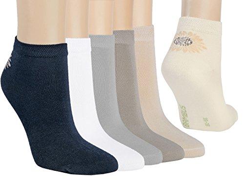 VITASOX 43019 Bambus-Kurz-Socken marine silber weiß 6er Set 39/42