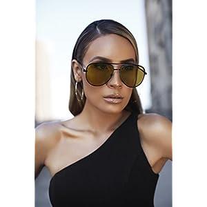 Quay Australia SAHARA Women's Sunglasses Oversized Aviator Sunnies - Black/Olive