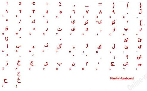 Kurdish Keyboard Label Transparent with RED Letters for Computer PC Desktop Notebook