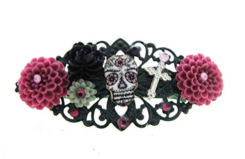 Pink Sugar Skull Hair Clip Barrette Day of the Dead