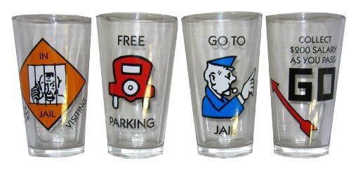 Pub Glass Set - Monopoly - Games Set of 4 (Cleared Glasses, 16oz)
