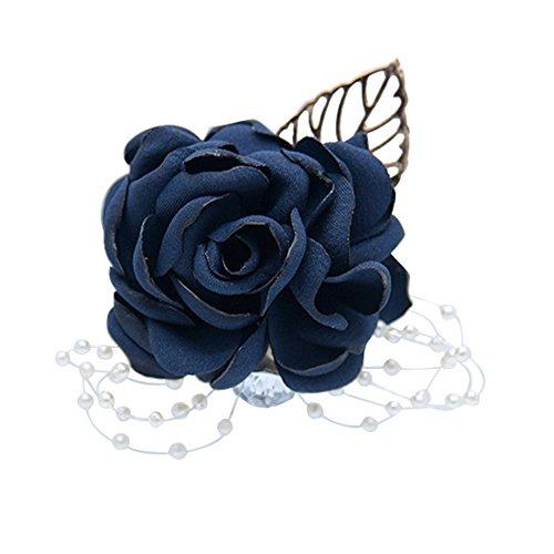 - 1Pcs Bridal Bridesmaid Rose Wrist Corsage Stretch Bracelet Wedding Prom School Dance Wrist Corsage Hand Flower (blue)